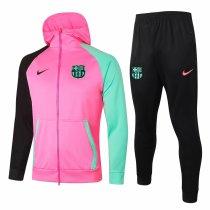 Mens Barcelona Hoodie Jacket + Pants Training Suit Pink 2020/21