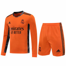 Real Madrid Goalkeeper Orange Long Sleeve Jersey + Shorts Set Mens 2020/21