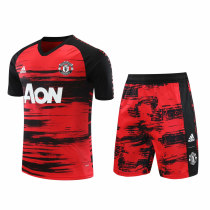Mens Manchester United Short Training Suit UCL Red-Black 2020/21
