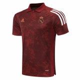 Mens Real Madrid Polo Shirt UCL Maroon Texture 2020/21