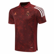 Mens Real Madrid Polo Shirt UCL Maroon Texture 2020/21