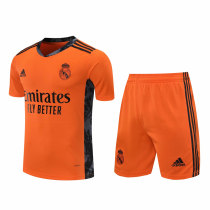 Real Madrid Goalkeeper Orange Jersey + Shorts Set Mens 2020/21