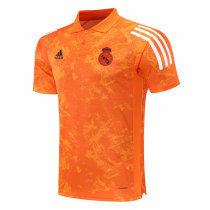 Mens Real Madrid Polo Shirt UCL Orange Texture 2020/21