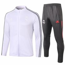 Mens Real Madrid Jacket + Pants Training Suit White 2020/21