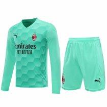 AC Milan Goalkeeper Green Long Sleeve Jersey + Shorts Set Mens 2020/21