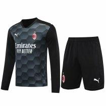 AC Milan Goalkeeper Black Long Sleeve Jersey + Shorts Set Mens 2020/21