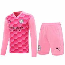 Manchester City Goalkeeper Pink Long Sleeve Jersey + Shorts Set Mens 2020/21
