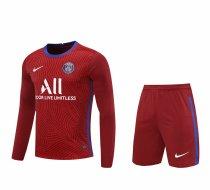 PSG Goalkeeper Red Long Sleeve Jersey + Shorts Set Mens 2020/21