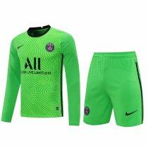 PSG Goalkeeper Green Long Sleeve Jersey + Shorts Set Mens 2020/21