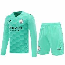Manchester City Goalkeeper Green Long Sleeve Jersey + Shorts Set Mens 2020/21