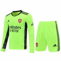 Arsenal Goalkeeper Green Long Sleeve Jersey + Shorts Set Mens 2020/21