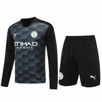 Manchester City Goalkeeper Black Long Sleeve Jersey + Shorts Set Mens 2020/21