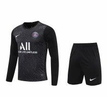 PSG Goalkeeper Black Long Sleeve Jersey + Shorts Set Mens 2020/21