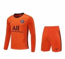 PSG Goalkeeper Orange Long Sleeve Jersey + Shorts Set Mens 2020/21