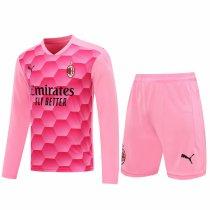 AC Milan Goalkeeper Pink Long Sleeve Jersey + Shorts Set Mens 2020/21