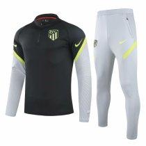 Mens Atletico Madrid Training Suit Black-Grey 2020/21