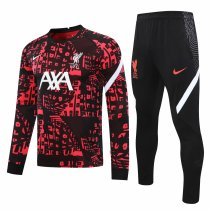 Mens Liverpool Training Suit Crew Neck Red - Black 2020/21