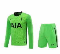 Tottenham Hotspur Goalkeeper Green Long Sleeve Jersey + Shorts Set Mens 2020/21