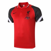 Mens Liverpool Polo Shirt Red - Black 2020/21