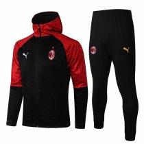 Mens AC Milan Hoodie Jacket + Pants Training Suit Black 2020/21