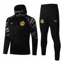 Mens Borussia Dortmund Hoodie Jacket + Pants Training Suit Black 2020/21