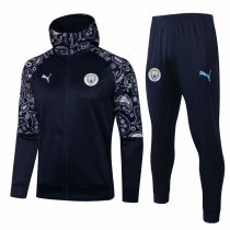 Mens Manchester City Hoodie Jacket + Pants Training Suit Navy 2020/21