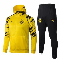 Mens Borussia Dortmund Hoodie Jacket + Pants Training Suit Yellow 2020/21