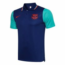 Mens Barcelona Polo Shirt Blue 2021/22