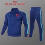 Kids Barcelona Jacket + Pants Training Suit Blue 2021/22