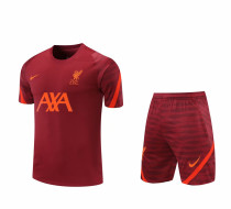 Mens Liverpool Short Training Suit  Burgundy 2021/22