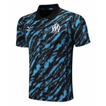 Mens Olympique Marseille Polo Shirt Deep Blue 2021/22