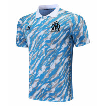 Mens Olympique Marseille Polo Shirt Light Blue 2021/22