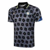Mens Inter Milan Polo Shirt Grey 2021/22