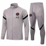Mens PSG Hoodie Jacket + Pants Training Suit Light Grey 2021/22