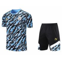 Mens Manchester City Short Training Suit Light Blue 2021/22