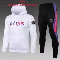 Kids PSG x JORDAN Hoodie Sweatshirt + Pants Suit White 2021/22