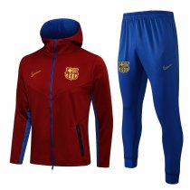 Mens Barcelona Hoodie Jacket + Pants Training Suit Red 2021/22