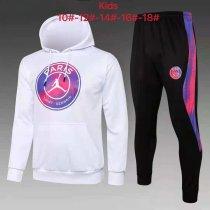 Kids PSG x JORDAN Hoodie Sweatshirt + Pants Suit Big Logo White 2021/22