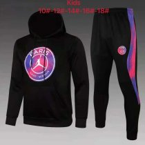 Kids PSG x JORDAN Hoodie Sweatshirt + Pants Suit Big Logo Black 2021/22