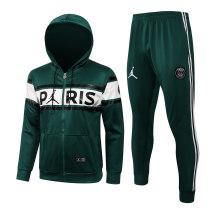 Mens PSG x Jordan Hoodie Jacket + Pants Training Suit Green 2021/22