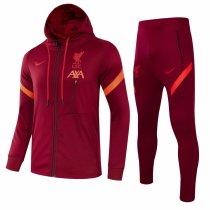 Mens Liverpool Hoodie Jacket + Pants Training Suit Burgundy 2021/22