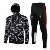 Mens PSG x Jordan Hoodie Jacket + Pants Training Suit Black 2021/22