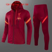 Kids Liverpool Hoodie Jacket + Pants Training Suit Burgundy 2021/22