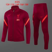 Kids Liverpool Jacket + Pants Training Suit Burgundy 2021/22
