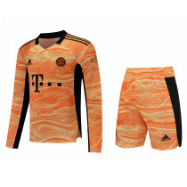Mens Bayern Munich Goalkeeper Orange Long Sleeve Jersey + Shorts Set 2021/22