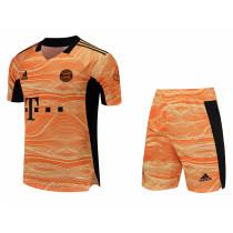 Mens Bayern Munich Goalkeeper Orange Jersey + Shorts Set 2021/22