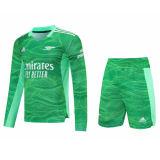 Mens Arsenal Goalkeeper Green Long Sleeve Jersey + Shorts Set 2021/22