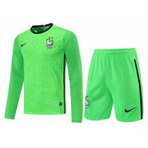 Mens France Goalkeeper Green Long Sleeve Jersey + Shorts Set 2021/22
