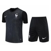 Mens France Goalkeeper Black Jersey + Shorts Set 2021/22