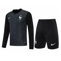 Mens France Goalkeeper Black Long Sleeve Jersey + Shorts Set 2021/22